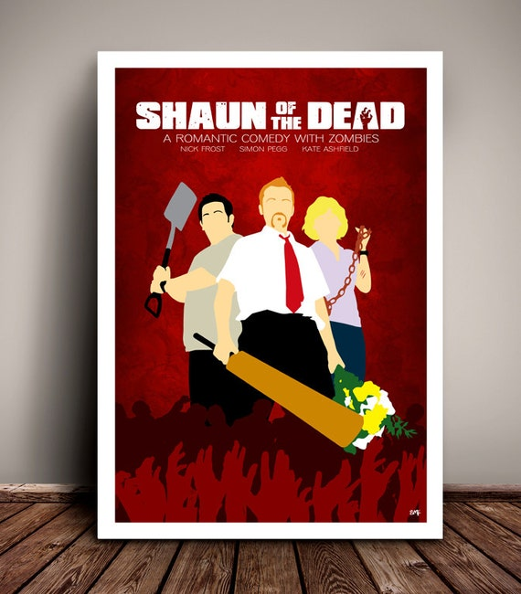 Shaun Of The Dead // Simon Pegg // Minimalist Movie Poster // Unique A4 / A3 Art Print