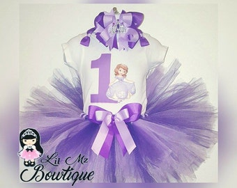ON SALE Sofia the first tutu set, sofia the first birthday outfit, princess sofia tutu, sofia tutu, sofia the 1st birthday tutu,