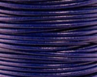 """2mm Round Leather, 2mm Round """"Royal Blue"""" Leather Sold By The Yard Or Spool #14"""
