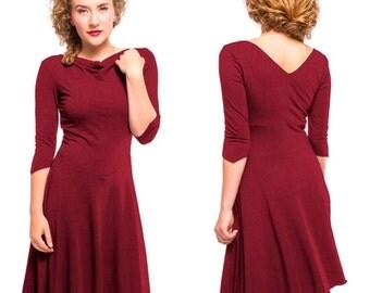 Dark Red Bamboo Cotton Cowgirl Dress