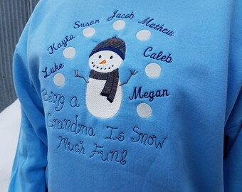 Personalized Snowman Theme Sweatshirt For Grandma - Embroidered Design With Names