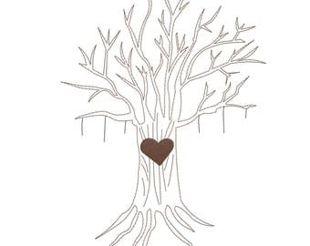 Roots Of Life - Digital Machine Embroidery Design - Tree only (Purchase Leaves or Hearts Separately)