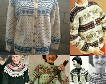 Vintage 1950s Women's Wool Norwegian/Scandanavian Button Down Sweater