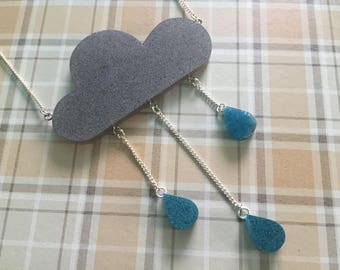 Raincloud Statement Necklace. Handmade, Blue and Grey Resin