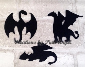 Set of 12 Large or Small Dragon Die Cuts, Dragon Cutouts, Paper Dragons Cut Outs, Handmade Cardstock Paper Dragon Dies