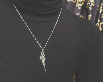 Silver plated gun necklace
