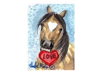 Buckskin Pony Valentines Day llmartin Original ACEO  Watercolor Heart Free Shipping USA