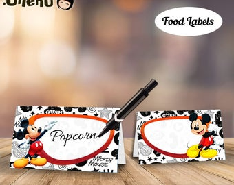 SALE Mickey Food Labels DIY Printable / Mickey Food Tents / Mickey Mouse Labels / Mickey Party Decor / Mickey Place Cards / Mickey Buffet
