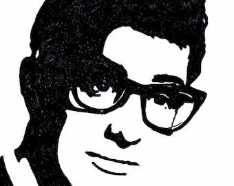 Buddy Holly hand-drawn drawing / painting