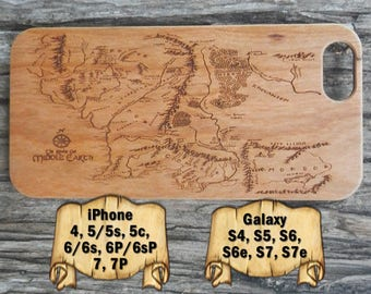 Middle Earth Map, iPhone 7/7P 6/6s 6P/6sP 5/5s/5c 4/4s, Galaxy S7/S7e S6/S6e S5 S4, Laser Engraved Wood Phone Case, Lord of the Rings