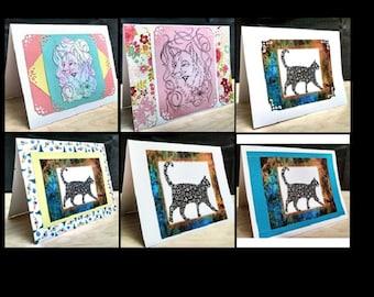6 Notecards Greeting Handmade Art Cards with Original Artwork #QN1.2.3.4.5.6