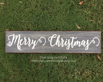 Merry Christmas Wood Sign, Christmas Decor, Christmas Sign, Vintage Christmas Sign. Rustic. Farmhouse. Distressed, Black &  White