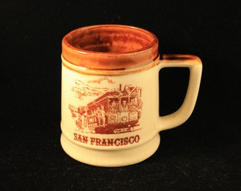 Vintage San Francisco Mug Tankard Brown Glazed Ceramic Travel Souvenir Tan Brown