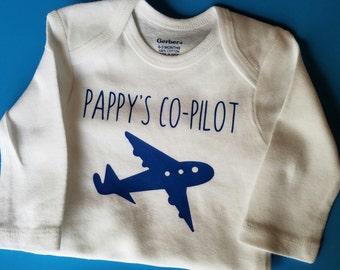 Pappy's Co-Pilot, Pilot Baby Clothes, Aviator, Air Force Baby, Airplane Baby Clothes, Funny Baby, Gender Neutral Baby Clothes, Pappy, Pilot