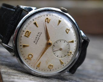 Buren Grand Prix Calibre 370 Gents Honeycomb Dial Vintage Watch c1950-Rare Piece!