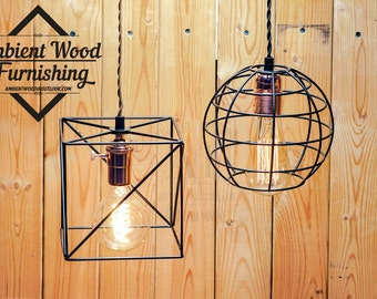 Cage copper socket Edison bare bulb pendant light industrial style