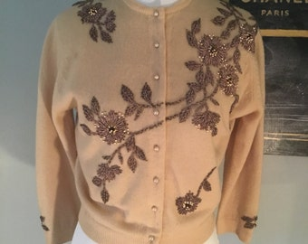 60s beaded sweater, pale cocoa with chocolate beading