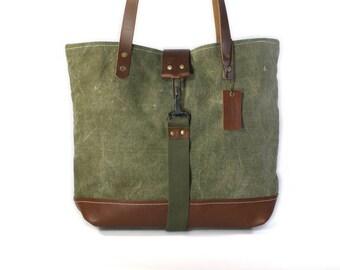 WW II Era Military Canvas Handbag, Tote, Purse by American Harvest Bag Co.
