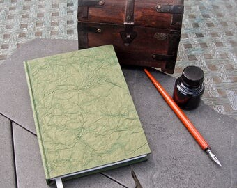 Handbound Green and Gold Leatherite Journal (made with 100% recycled paper)