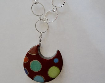 Hand made & hand painted porcelain necklace with happy circles