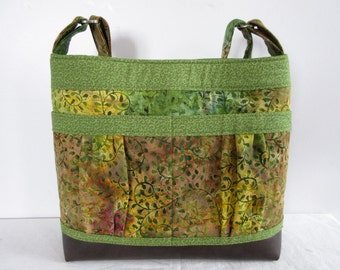 Large Fabric Handbag with Vinyl Base and Adjustable Shoulder Strap