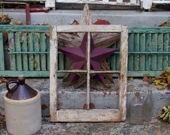 reclaimed four pane window frame white chippy paint distressed no glass rustic home decor old window sash home salvage small frame