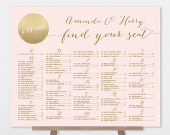 Blush and Gold Alphabetical Seating Chart Sign DIY / Metallic Gold and Blush Wedding Sign ▷ Printable File {or} Printed & Shipped