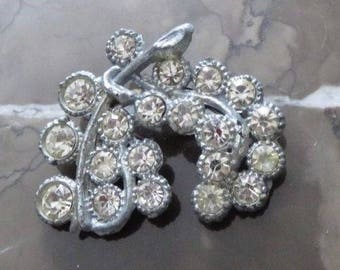 "Beautiful Clear Rhinestone Brooch Set in Silvertone Metal ~ Signed ""AJC"" ~ Floral or Fruit ~ Unique, Eye-Catching Design for Pop of Sparkle"