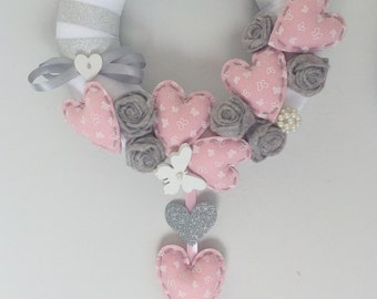 Stitchable roses and hearts pink and silver
