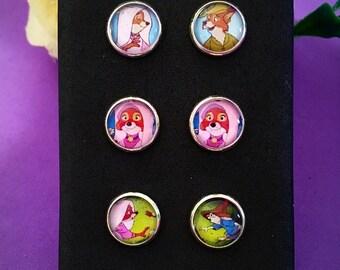 Disney Robin Hood Maid Marian Stud Earrings Set of 3 pairs. 10mm Diameter. Valentines Gift
