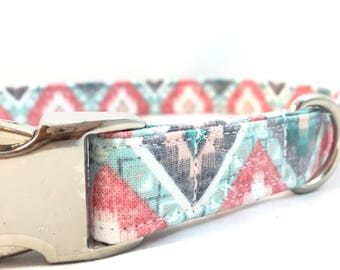 Boho Dog - Boho aztec Collar - spring boho dog collar - blue dog collar - Dog Collar boho - Modern Dog Collar - Girl  Collar