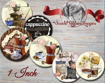 COFFEE TIME  Vintage watercolor coffee, cappuccino, cafe Bottle Cap Images - 1 inch circles 600dpi Collage Sheet, Label, Cupcake topper, Tag