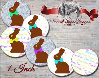 Chocolate Easter Bunnies images for bottle caps  1 inch round circles