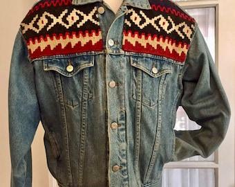 Awesome Jensen Smith Native American Blanket & Denim Jacket Large
