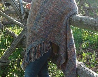 Warm and stylish multi coloured poncho