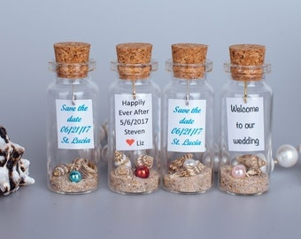 Wedding favors for beach wedding wedding party gift for guest beach party favor wedding message in a bottle sand seashells pearl in a bottle