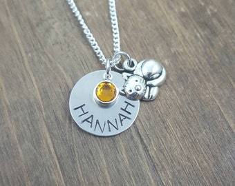 Personalized Cat Necklace - Hand stamped Birthstone Cat Necklace - Girl Name Necklace - Cat Necklace