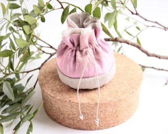 Small pink silk jewelry purse candy, bridesmaids gift.