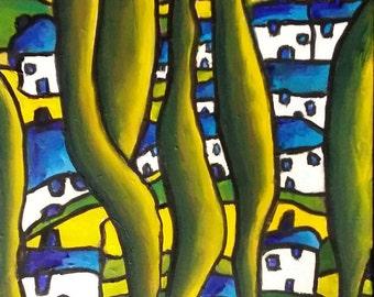 "Original Oil Painting, Original Landscape Painting, Art Expressionism, Original Abstract Painting Canvas 14""x18"" Impressionist Art Colorist"