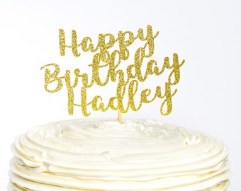 Happy Birthday Cake Topper, Custom Cake Topper, Birthday Topper, Cake Topper, Glitter Cake Topper, Happy Birthday Topper