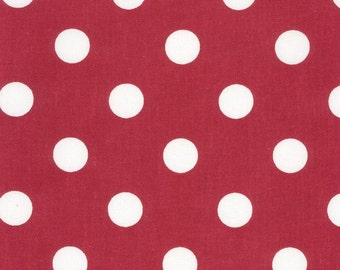 Au maison oilcloth dots giant red red dots coated cotton