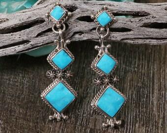 Native American Jewelry,Navajo,Sterling,Navajo Silver,Native American,Turquoise,Native,earrings, Navajo Sterling Silver & Turquoise Earrings