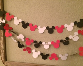 Mickey Mouse Head Garland Red White Black