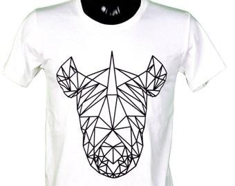 Rhino - animal - origami - geometric - graphic tee unisex men and women color white / / unisex t-shirt color white rhinoceros