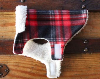 "MICRO Dog Coat ""Mac Jac"" Red-Black Tartan Plaid"