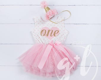 First Birthday outfit, First Birthday Dress, Pink and gold birthday outfit, 1st birthday outfit, 1st birthday dress, polka dots, heart