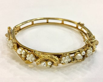 Florenza Victorian Revival Gold Tone Bangle with pearl and tree motif