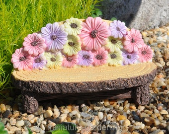 Bench with Flowers for Miniature Garden, Fairy Garden