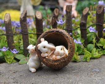 Bunnies in a Walnut for Miniature Garden, Fairy Garden