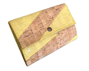 Cork Wallet for Woman Yellow Cork Wallet Large Wallet Woman Women's Wallet in Yellow